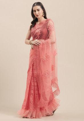 Embroidered Net Saree in Dark Pink