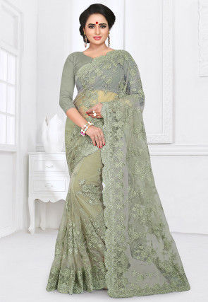 Embroidered Net Saree in Dusty Green