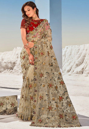 Embroidered Net Saree in Fawn