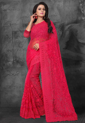 Embroidered Net Saree in Fuchsia