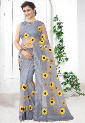 Embroidered Net Saree in Grey