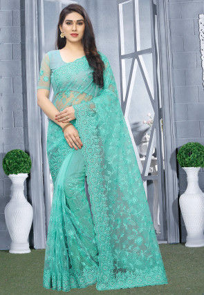 Embroidered Net Saree in Light Blue