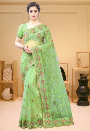 Embroidered Net Saree in Light Green