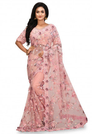 Embroidered Net Saree in Light Peach