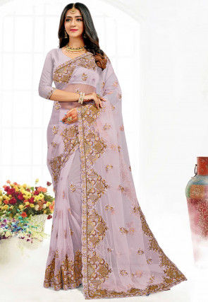 Embroidered Net Saree in Light Purple