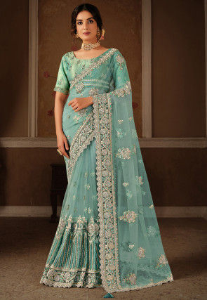 Embroidered Net Saree in Light Turquoise