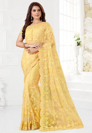 Embroidered Net Saree in Light Yellow