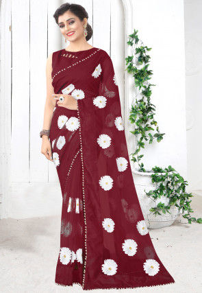 Embroidered Net Saree in Maroon