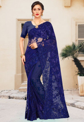 Embroidered Net Saree in Navy Blue