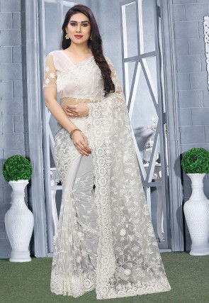 Embroidered Net Saree in Off White