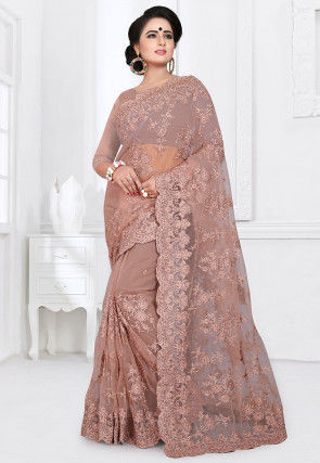 Embroidered Net Saree in Old Rose