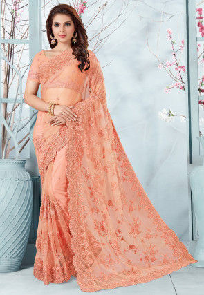 Embroidered Net Saree in Peach