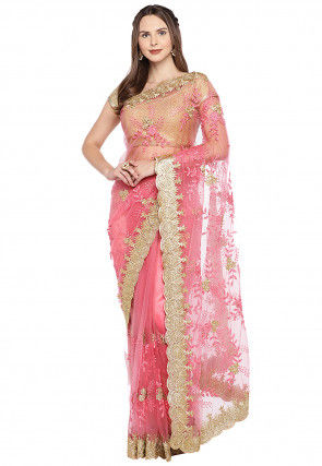 Embroidered Net Scalloped Saree in Pink