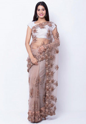 Embroidered Net Saree in Rose Gold