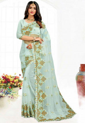 Embroidered Net Saree in Sea Green