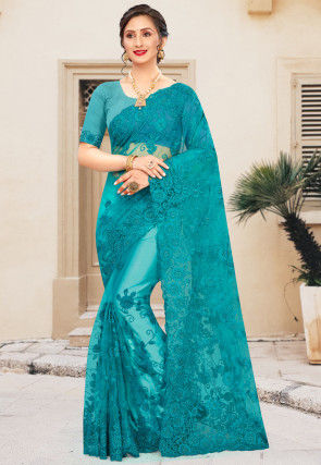 Embroidered Net Saree in Teal Blue
