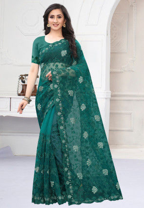 Embroidered Net Saree in Teal Green