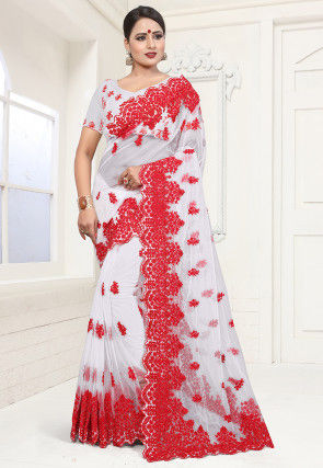 Embroidered Net Saree in White and Red