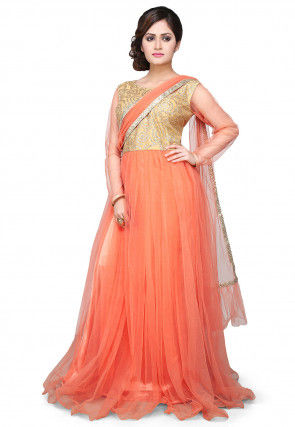 Embroidered Net Saree Style Gown In Peach and Beige