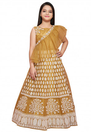 Embroidered Net Sash Style Gown in Mustard