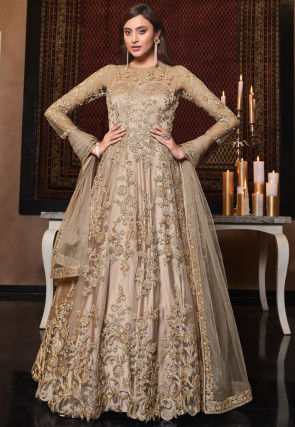 Embroidered Net Scalloped Abaya Style Suit in Beige