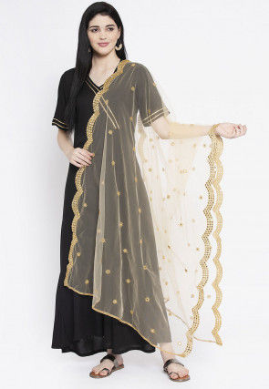 Embroidered Net Scalloped Dupatta in Beige