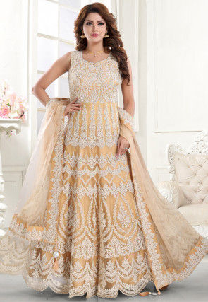 Embroidered Net Scalloped Hemline Abaya Style Suit in Peach