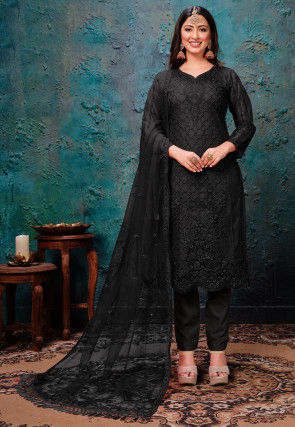 Embroidered Net Scalloped Pakistani Suit in Black