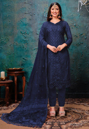 Embroidered Net Scalloped Pakistani Suit in Dark Blue