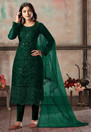 Embroidered Net Scalloped Pakistani Suit in Dark Green