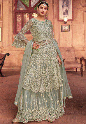 Embroidered Net Scalloped Pakistani Suit in Grey