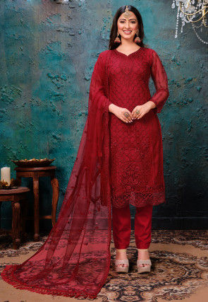 Embroidered Net Scalloped Pakistani Suit in Maroon
