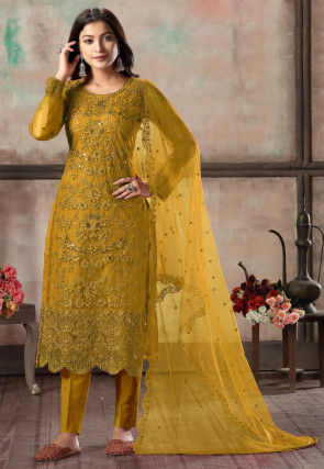Embroidered Net Scalloped Pakistani Suit in Mustard