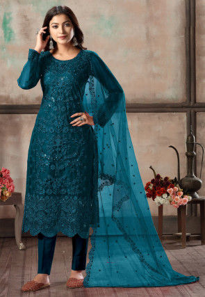 Embroidered Net Scalloped Pakistani Suit in Teal Blue