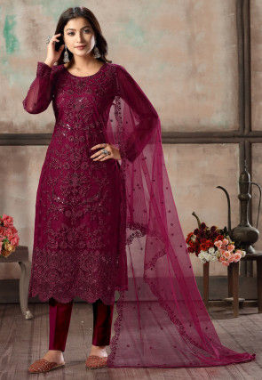 Embroidered Net Scalloped Pakistani Suit in Wine