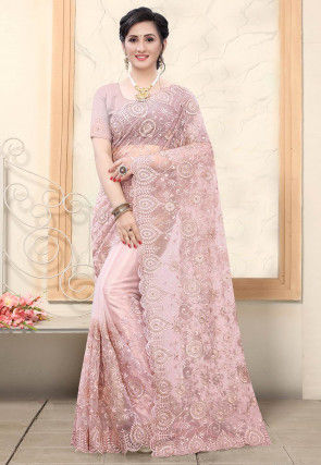 Embroidered Net Scalloped Saree in Baby Pink