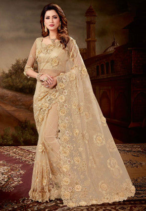 Embroidered Net Scalloped Saree in Beige