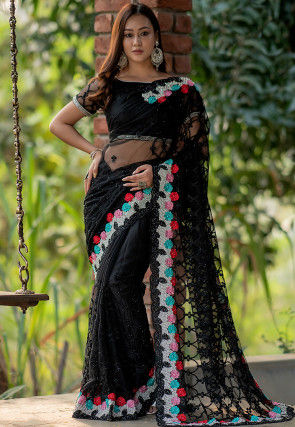 Embroidered Net Scalloped Saree in Black