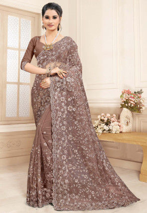Embroidered Net Scalloped Saree in Brown