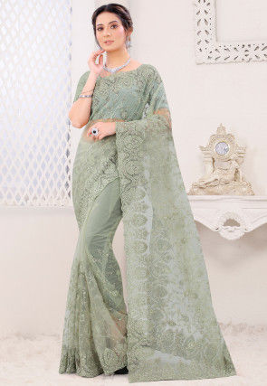 Embroidered Net Scalloped Saree in Dusty Green