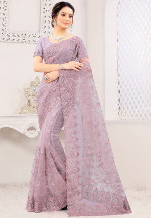 Embroidered Net Scalloped Saree in Dusty Purple