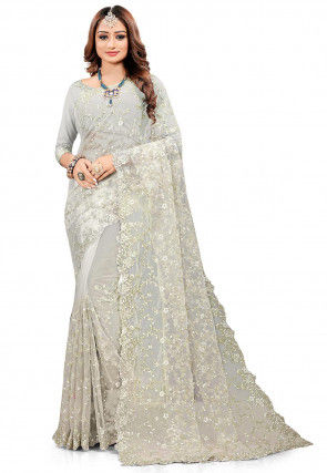 Embroidered Net Scalloped Saree in Grey