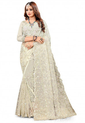 Embroidered Net Scalloped Saree in Light Beige