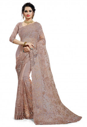 Embroidered Net Scalloped Saree in Light Fawn