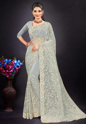 Embroidered Net Scalloped Saree in Light Grey