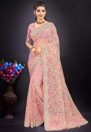 Embroidered Net Scalloped Saree in Light Pink