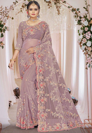 Embroidered Net Scalloped Saree in Light Purple