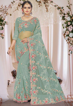 Embroidered Net Scalloped Saree in Light Teal Green