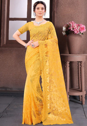 Embroidered Net Scalloped Saree in Mustard