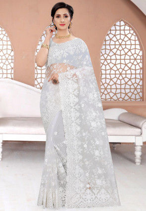 Embroidered Net Scalloped Saree in Off White